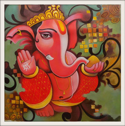 religious, ganesha painting, red, pink, orange shade painting,GANRAJ 3,ART_1033_11035,Artist : PARESH MORE,Acrylic