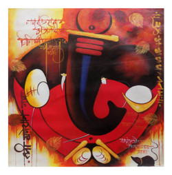 ganesha painting, red, pink, orange shade, religious painting, ganraj 2,GANRAJ 2,ART_1033_11034,Artist : PARESH MORE,Acrylic
