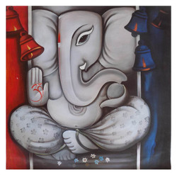 religious painting, ganesha painting, white, grey shade painting, ganraj,GANRAJ 1,ART_1033_11033,Artist : PARESH MORE,Acrylic