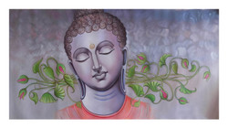 buddha painting, religious painting, white light shade painting,BUDDHA,ART_1033_11026,Artist : PARESH MORE,Acrylic