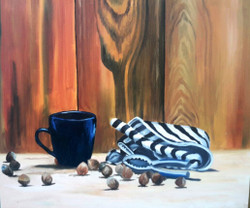 Coffee and conversations (ART_607_8834) - Handpainted Art Painting - 24in X 20in