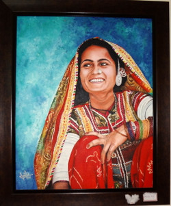 rajasthani women,smile,colourful,rajasthani women,ART_119_11193,Artist : Anita Raj,Oil