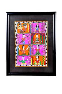 madhubani painting, multicoloured painting, figurative, folk art,,Madhubani Painting,ART_1277_11005,Artist : Anjali  Sharma,Acrylic