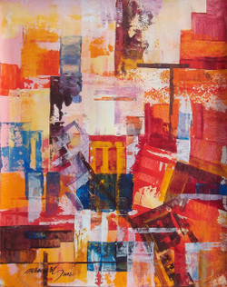 City, abstract city, abstract, Ramesh, architect, old building, modern painting, Street, contrast  colour painting,The City 6,ART_1380_11517,Artist : Ramesh AR,Acrylic