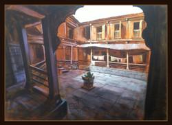 landscape, cityscape, wada, yellow, brown shade painting,Wada-Interior,ART_1391_6668,Artist : Arun Suryawanshi,Acrylic on Canvas