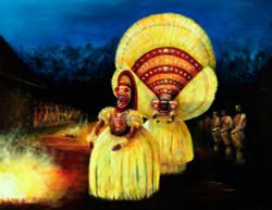,Kaliyaattam (34 X24),ART_464_5514,Artist : Seby Augustine,Acrylic