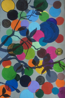tree, birds, circle, shades, round, artwork, painting, acrylic on paper, ankita popli,Upbeat Tree,ART_1412_11771,Artist : Ankita Popli,Mixed Media