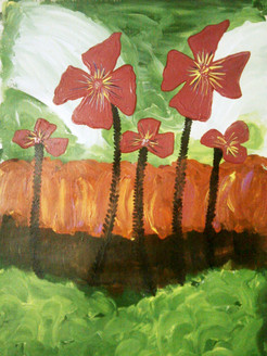 Pink Flowers- 20in x 27in,ART_PIJN13_2027,Pallavi Jain,Acrylic Colors,Canvas,Green Background Painting,Multi-Color,Rs.2690,Modern Art;Latest Collection;By Orientation and Size/Vertical/Medium (25in to 32in);Full Collection