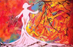Lady- 30in X 20in,ART_PIAA21_3020,Red, Pink, Orange,Rs.14990,Modern Art;Figurative;Latest Collection;By Orientation and Size/Horizontal/Medium (25in to 32in);Full Collection