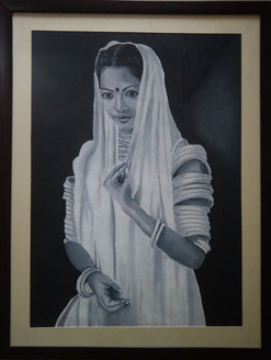 Potrait, Rajasthani lady, oil painting,Beauty of Rajasthan,ART_1455_11969,Artist : SNEHA SNEHA,Oil