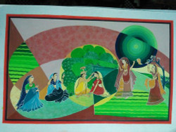Krishna ,Radha,Love,Radha Krishna Love-Ras Leela,ART_1454_12070,Artist : Sudha  Sharma,Water Colors