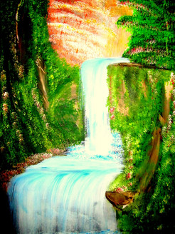 ,waterfall in deep forest,ART_1456_11943,Artist : Harshit Garg,Water Colors