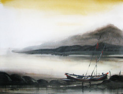 Boat, sea, seascape, scenery, black and white, water colors, paper,Voyage-02,ART_1268_10960,Artist : Rituja  Gayen,Water Colors