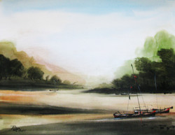 Boat, sea, seascape, scenery, black and white, water colors, paper,Voyage-01,ART_1268_10959,Artist : Rituja  Gayen,Water Colors