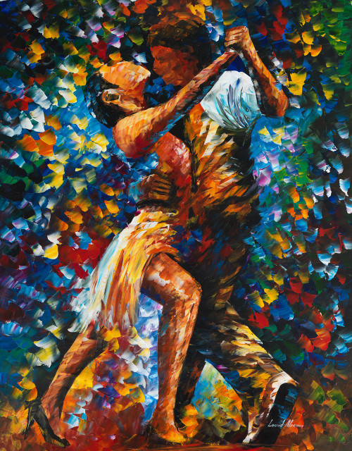 leonid afremov painting, internal struggle of lust, romantic couple, dancing couple, dancing man and woman,Romantic Couple,ART_1523_12266,Artist : Community Artists Group,Oil