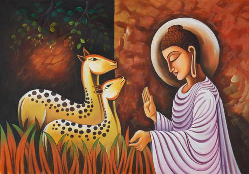 buddha with deers, buddha deers, deers buddha, buddha,Buddha with Two Deers,ART_1523_12255,Artist : Community Artists Group,Acrylic