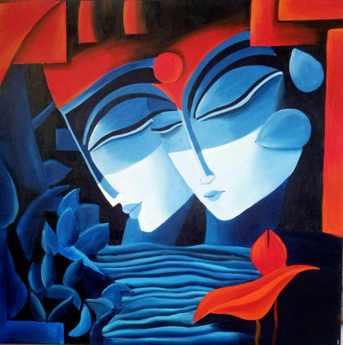 Modern art paintings of lord krishna