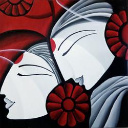 Shiv Parvati,Shiv Parvati Abstract,ART_138_6894,Artist : Ila Mishra,Acrylic