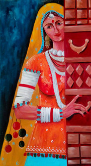 Rajasthani culture,Rajasthani cultured lady,ART_138_6803,Artist : Ila Mishra,Oil