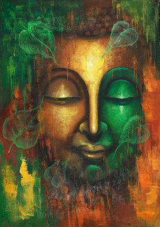 buddha with leaves, peaceful buddha, calm buddha, spa paintings,Calm Peaceful Buddha with Floating Leaves,FR_1523_12288,Artist : Community Artists Group,Acrylic