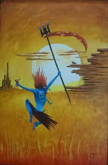 shiva abstract tandav angry shiv ,shiva series,ART_1569_13301,Artist : Manish Toor,Acrylic