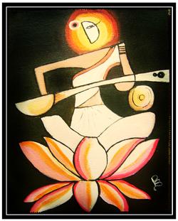 saraswati painting, abstract, god, painting, saraswati, goddess, devi,Saraswati Devi,ART_1112_10451,Artist : RAJNI AYAPILLA,Acrylic