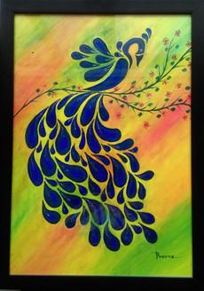 peacock, nature, blue shade paintings, birds,Peacock Beauty,ART_1564_13271,Artist : Prerna Duggal,Acrylic