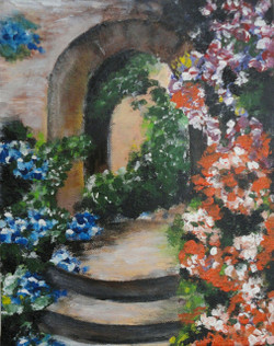 flowers, beauty, path,,The Gateway To Bliss,ART_1415_13265,Artist : Priyanka Doiphode,Acrylic