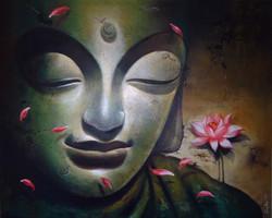 Buddha 11 (ART_836_7076) - Handpainted Art Painting - 48in X 60in
