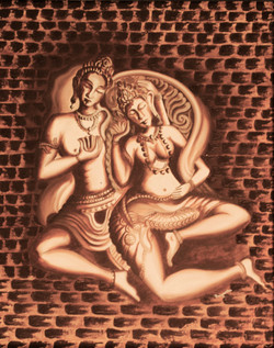 Shiv Parvati (ART_1316_11268) - Handpainted Art Painting - 24in X 33in