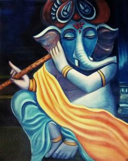abstract ganesha ganpati acrylic drawing room, lobby, living room blue dining area office ,Vighnaharta: Remover Of Obastacles,ART_1669_13798,Artist : Neha Jain,Acrylic