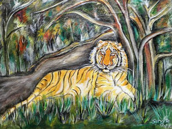 Tiger - 28in X 22in,ART_SANE5_2822,Yellow,Brown,Animal,Nature,Acrylic Colors,Museum Quality - 100% Handpainted