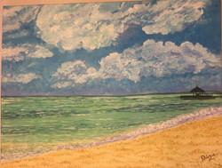 Ocean, Tranquility, Beach,A sunny day In Maldives,ART_1683_13874,Artist : Divya Mehta,Acrylic