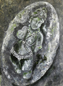 Ajantha statue2 - 20in X 25in,ART_SANE7_2025,Acrylic Colors,Statues,Sculptor,Thick Paper,Museum Quality - 100% Handpainted