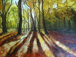 Autumn, nature, forest, light, shadow,Autumn Forest,ART_1664_13920,Artist : SHAILEYEE  DAS,Oil