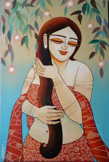 Shringaar (ART_836_13979) - Handpainted Art Painting - 20in X 30in