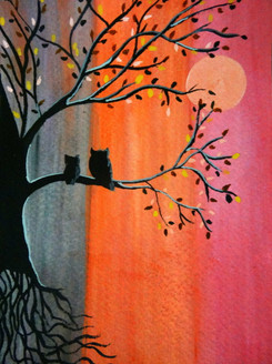 owl, tree, sunset, night, colours,Welcome to Night,ART_1664_13984,Artist : SHAILEYEE  DAS,Poster Colors
