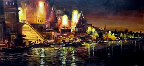 varanasi ghat, varanasi, temple, ghat, cityscape, yellow brown paintings,Varanasi Ghat at Night,ART_1232_14173,Artist : SAMIRAN SARKAR,Acrylic