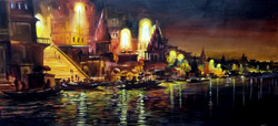 Varanasi Ghat at Night (ART_1232_14173) - Handpainted Art Painting - 32in X 14in