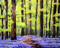 Flower Gardens & Forest (ART_1232_14183) - Handpainted Art Painting - 26in X 21in