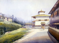 Monastery in Himalaya (ART_1232_14232) - Handpainted Art Painting - 31in X 20in