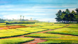 Rural Corn Field (ART_1232_14226) - Handpainted Art Painting - 27in X 16in