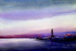 Evening Lighthouse (ART_1232_14204) - Handpainted Art Painting - 22in X 14in