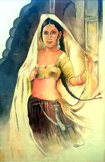 Rajsthani Traditional Women,Traditional Rajasthan Lady,ART_1739_14272,Artist : Ravi Borade,Poster Colors