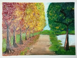 Pathway,road,trees,colourful,oilpainting,serene,calm,Serene Pathway,ART_1622_14283,Artist : Neeraja Yanamandra,Oil