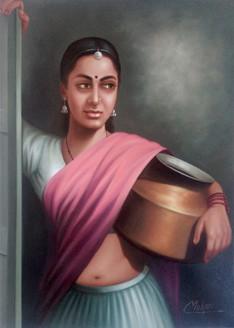 rajasthani, lady,Rajasthani Lady,ART_1090_14414,Artist : Mohan Verma,Oil