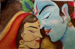 RADHA KRISHNA, LOVE,ETERNAL LOVE,ART_1752_14360,Artist : Yogita  Deshpande,Pastels