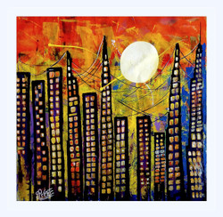 modern art / abstract art / city scape,abstract  - high rise,ART_1033_14442,Artist : PARESH MORE,Acrylic