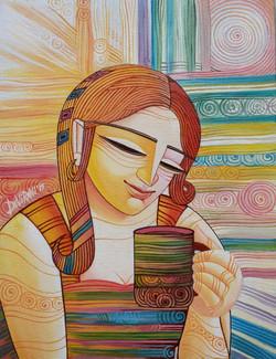 ,First Cuppa,ART_836_5565,Artist : Debkumar Bhattacharyya (Seller),Acrylic