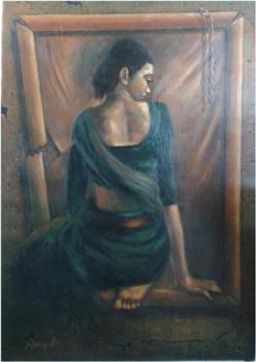 ,Sitting Lady,ART_836_14309,Artist : Debkumar Bhattacharyya (Seller),Acrylic